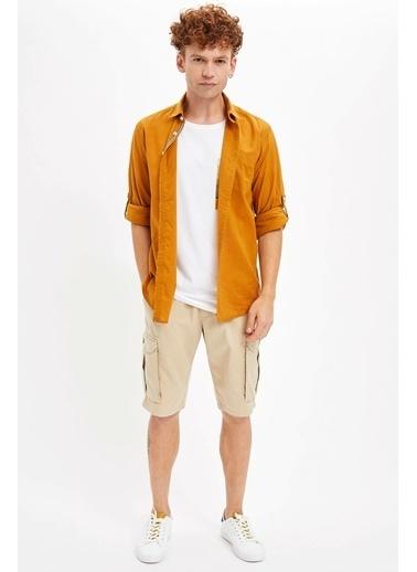 DeFacto Uzun Kollu Slim Fit Gömlek Sarı